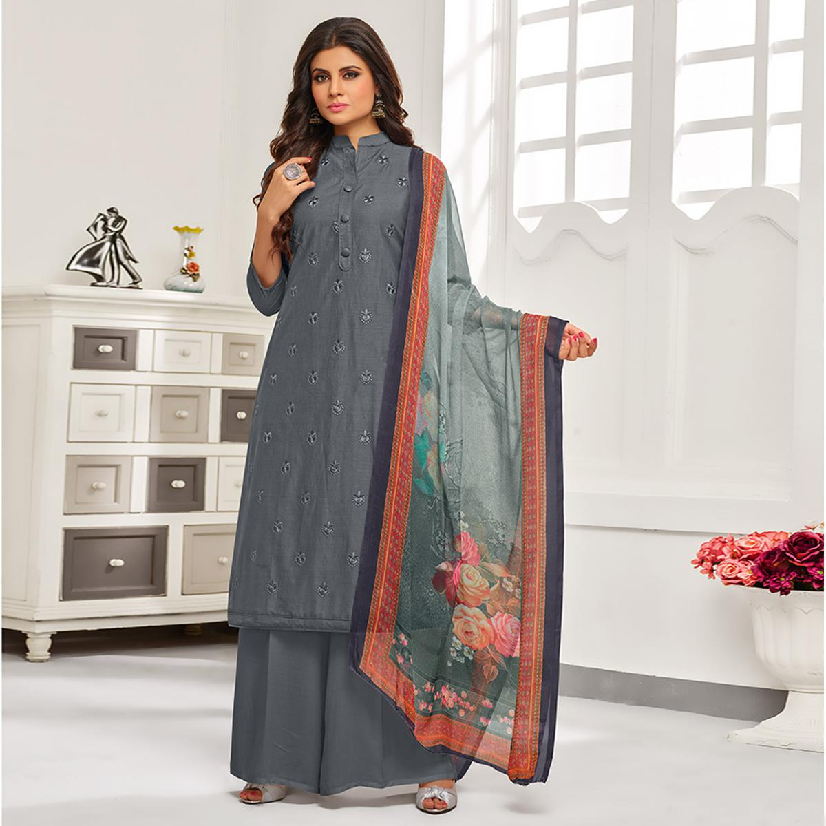 Arresting Gray Colored Partywear Embroidered Cotton Suit