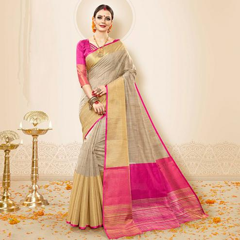 Elegant Beige-Pink Colored Festive Wear Cotton Silk Saree