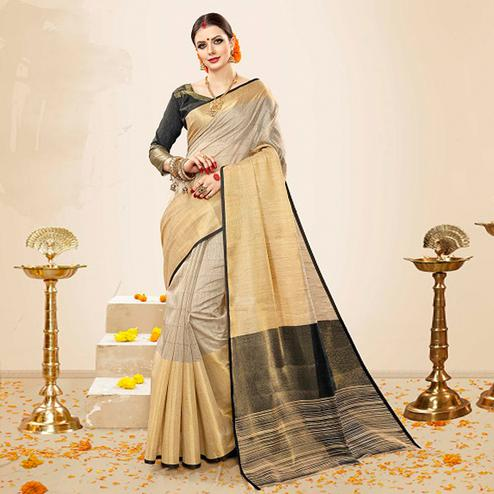 Mesmeric Beige-Black Colored Festive Wear Cotton Silk Saree