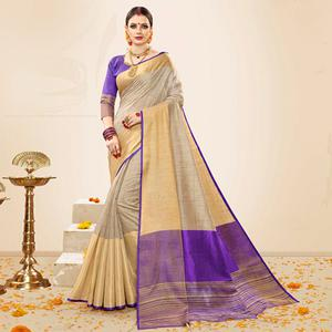 Attractive Beige-Violet Colored Festive Wear Cotton Silk Saree