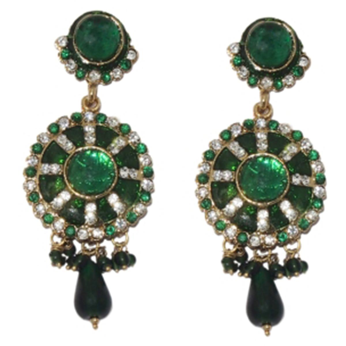 Green Austrian Stone Meenakari Drop Antique Gold Plated Dangle Earrings