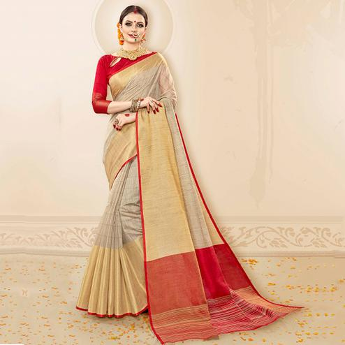 Gleaming Beige-Red Colored Festive Wear Cotton Silk Saree