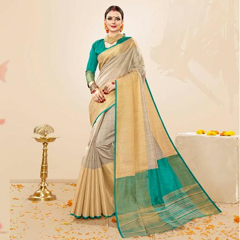 Glowing Beige-Green Colored Festive Wear Cotton Silk Saree
