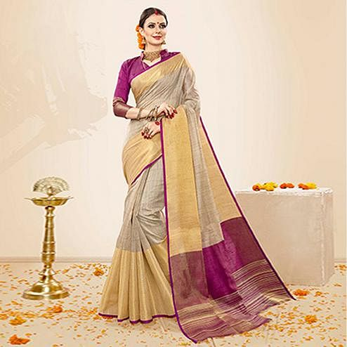 Beautiful Beige-Purple Colored Festive Wear Cotton Silk Saree