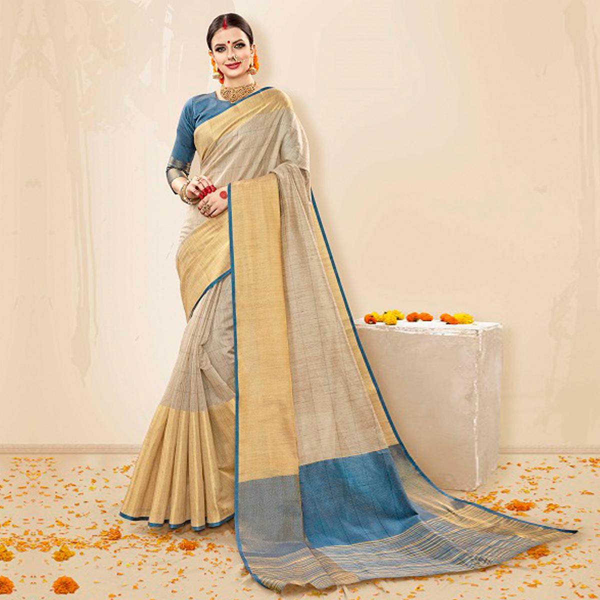 Eye-Catching Beige-Sky Blue Colored Festive Wear Cotton Silk Saree