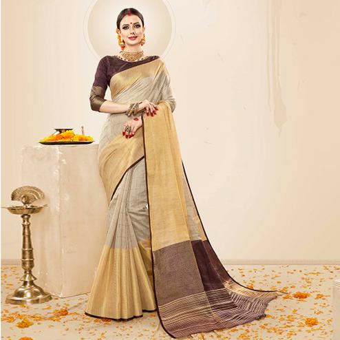 Demanding Beige-Brown Colored Festive Wear Cotton Silk Saree