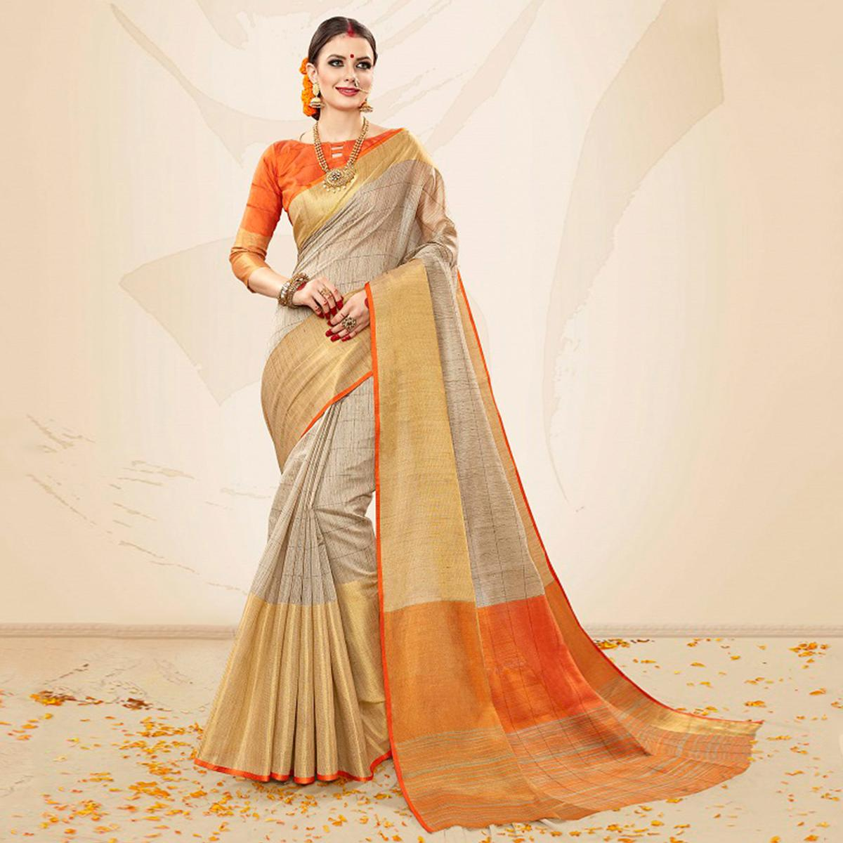 Opulent Beige-Orange Colored Festive Wear Cotton Silk Saree