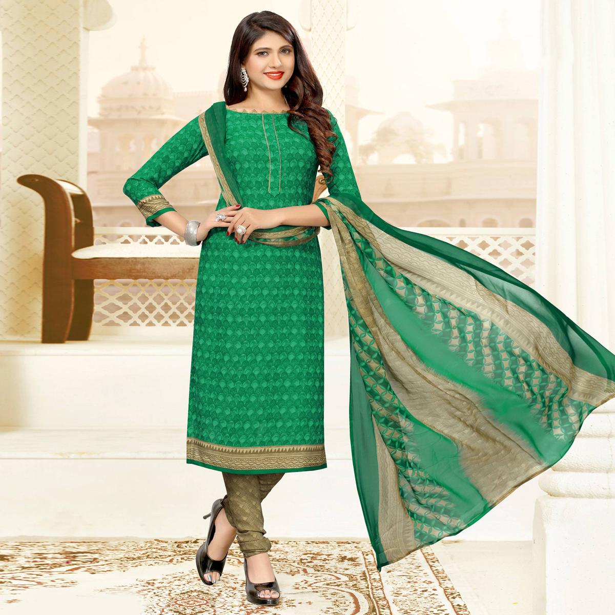 Refreshing Green Colored Casual Printed Crepe Dress Material