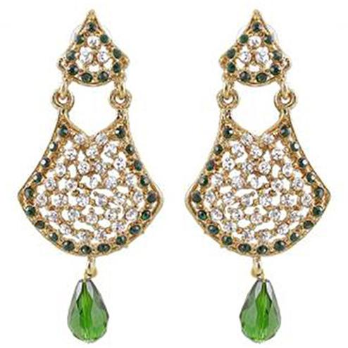 Green Austrian Stone Gold Plated Dangle Earrings