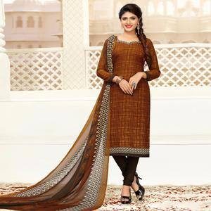 Eye-Catching Brown Colored Casual Printed Crepe Dress Material