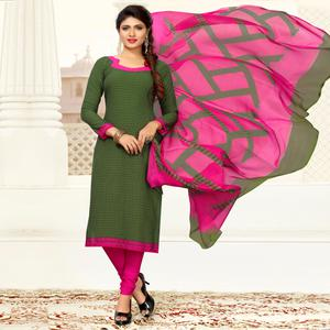 Gleaming Green Colored Casual Printed Crepe Dress Material