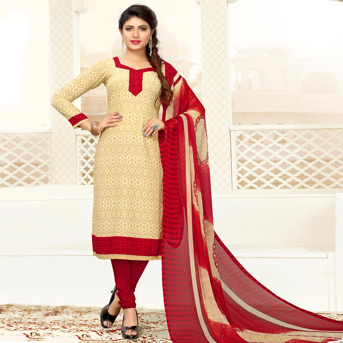 Appealing Beige Colored Casual Printed Crepe Dress Material