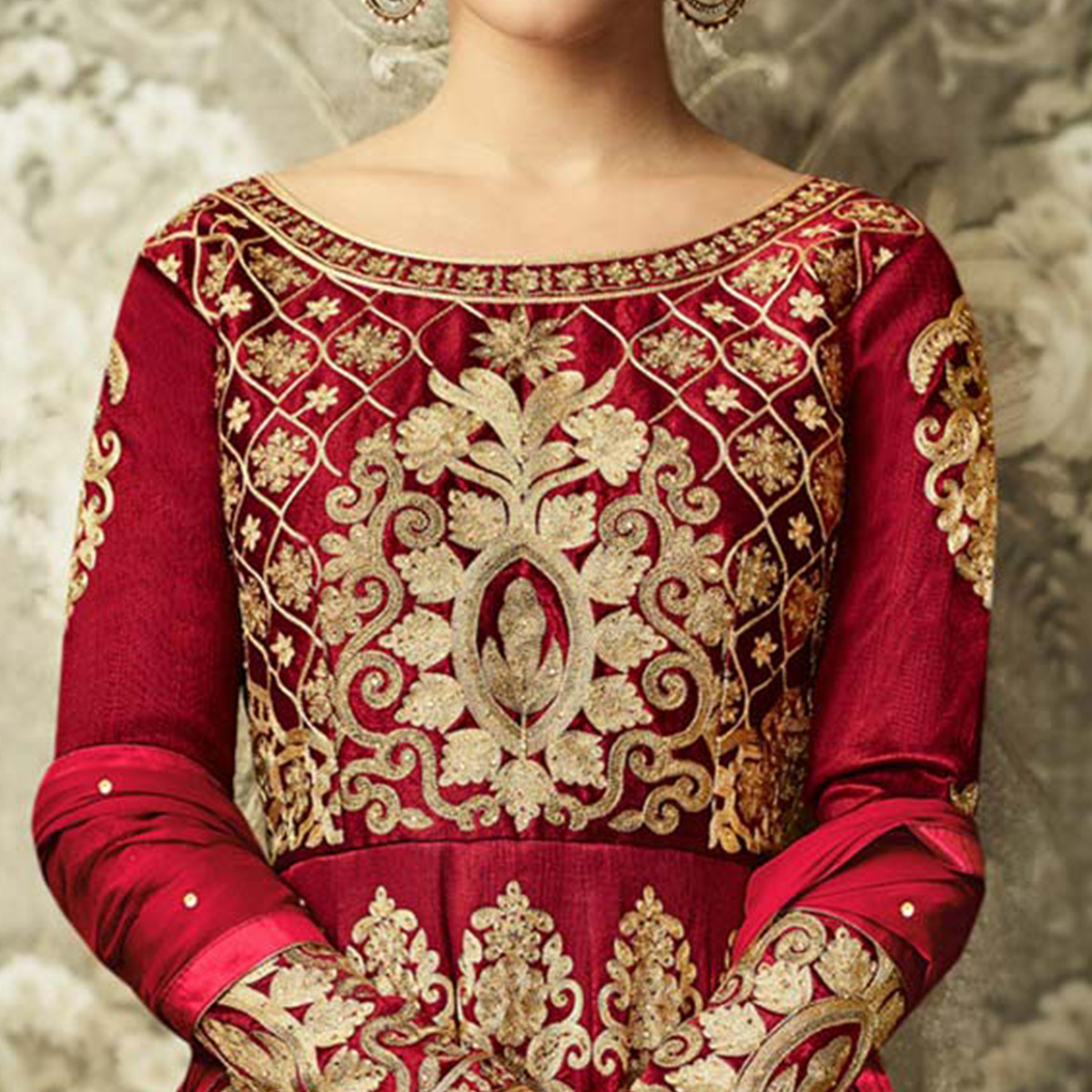 Attractive Red Colored Partywear Embroidered Mulberry Silk Anarkali Suit