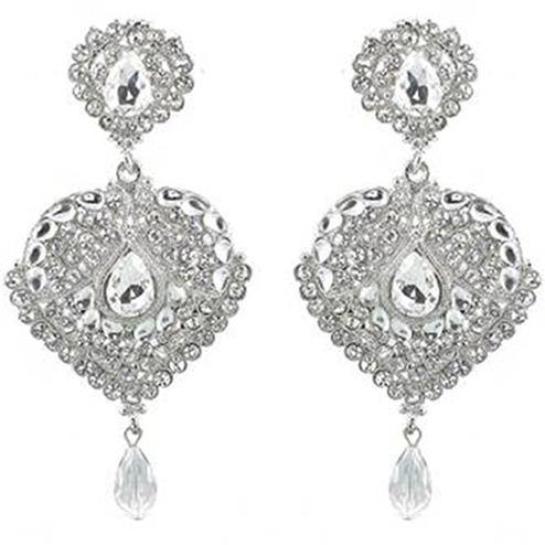 Kundan White Austrian Stone Rhodium Plated Dangle Earrings