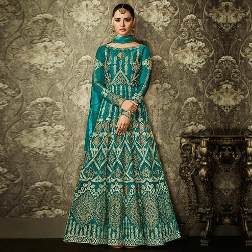 Beautiful Rama Green Colored Partywear Embroidered Mulberry Silk Anarkali Suit