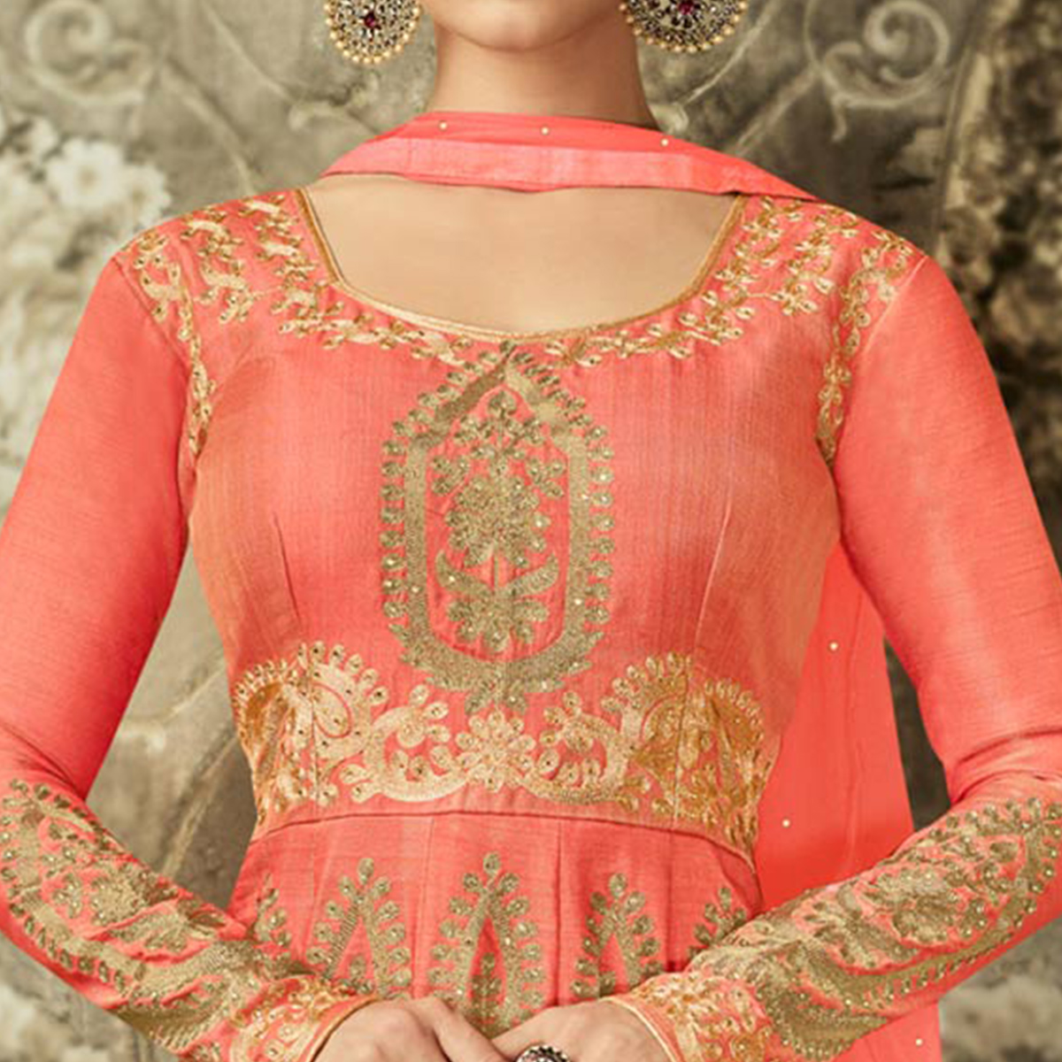 Stylish Peach Colored Partywear Embroidered Mulberry Silk Anarkali Suit