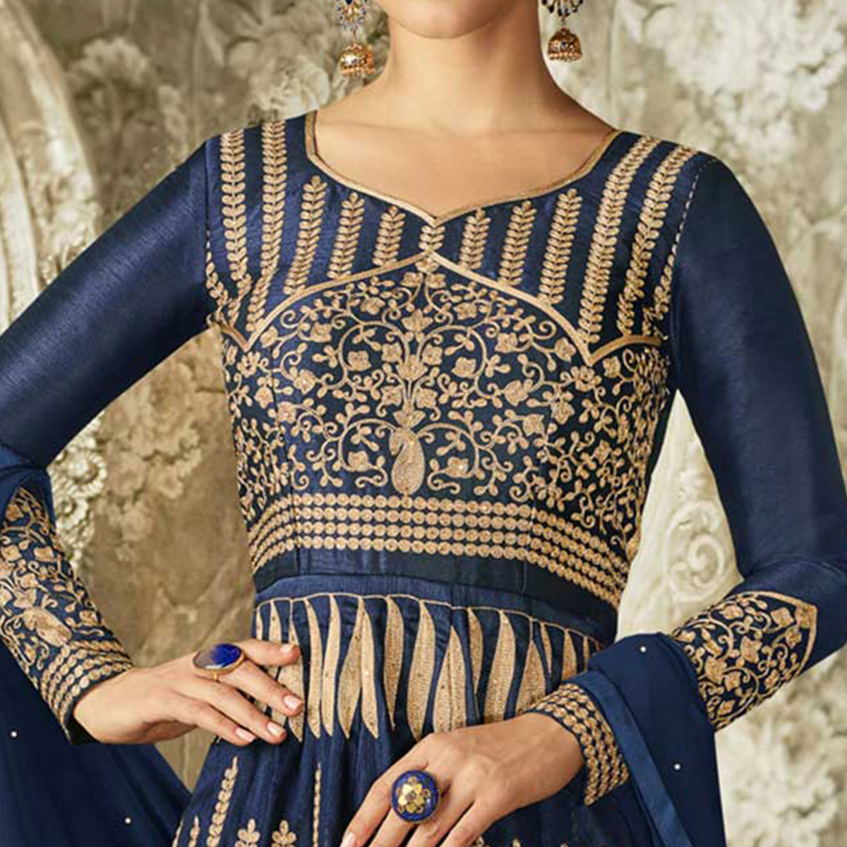Innovative Navy Blue Colored Partywear Embroidered Mulberry Silk Anarkali Suit