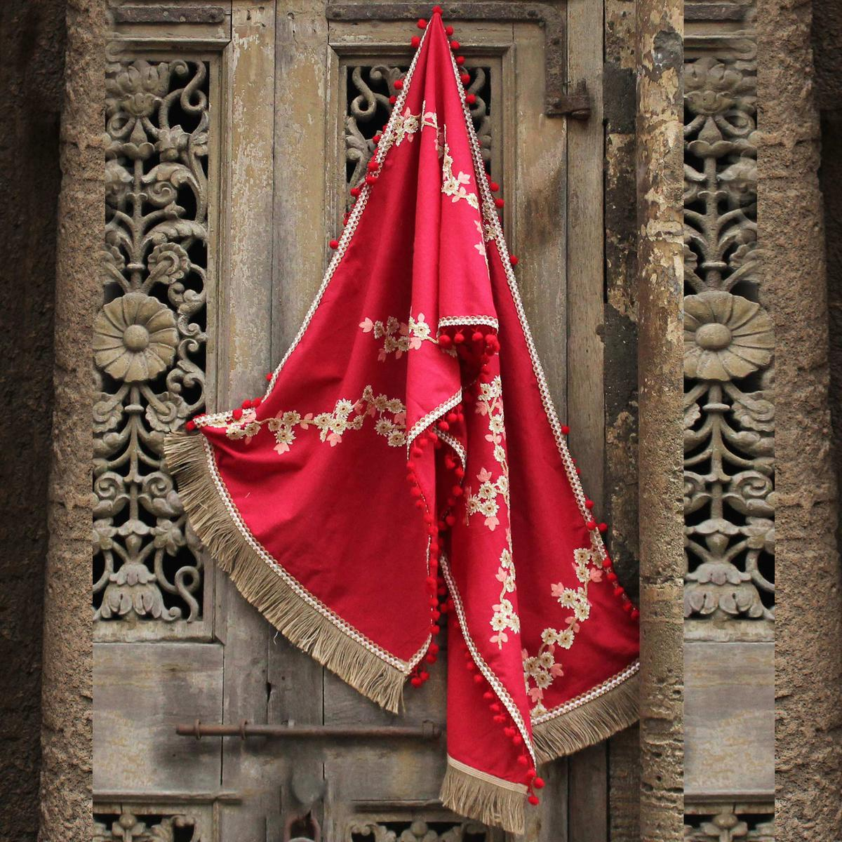 Attractive Red Colored Embroidered Linen Stole