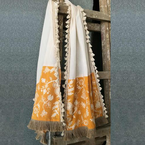 Pleasant White-Yellow Colored Embroidered Linen Stole
