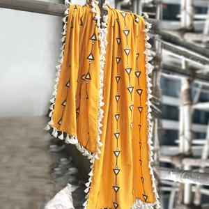 Favorite Yellow Colored Embroidered Linen Stole