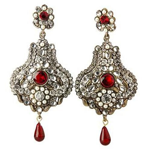 Kundan Red Austrian Stone Pearl Gold Plated Dangle Earrings
