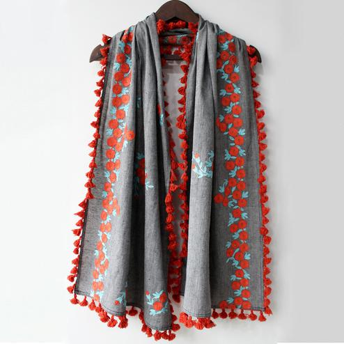 Classy Gray Colored Embroidered Linen Stole