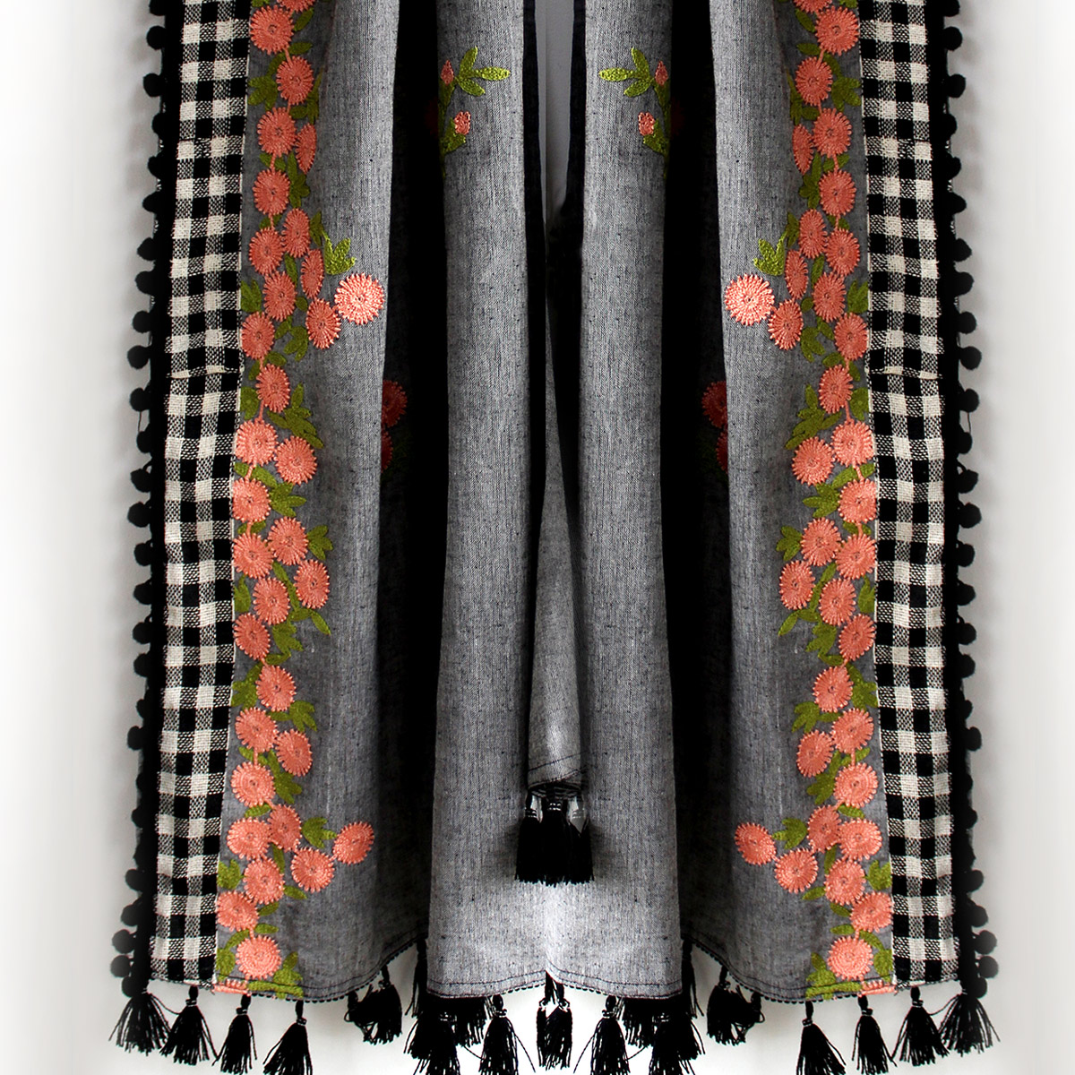 Gorgeous Gray Colored Embroidered Linen Stole