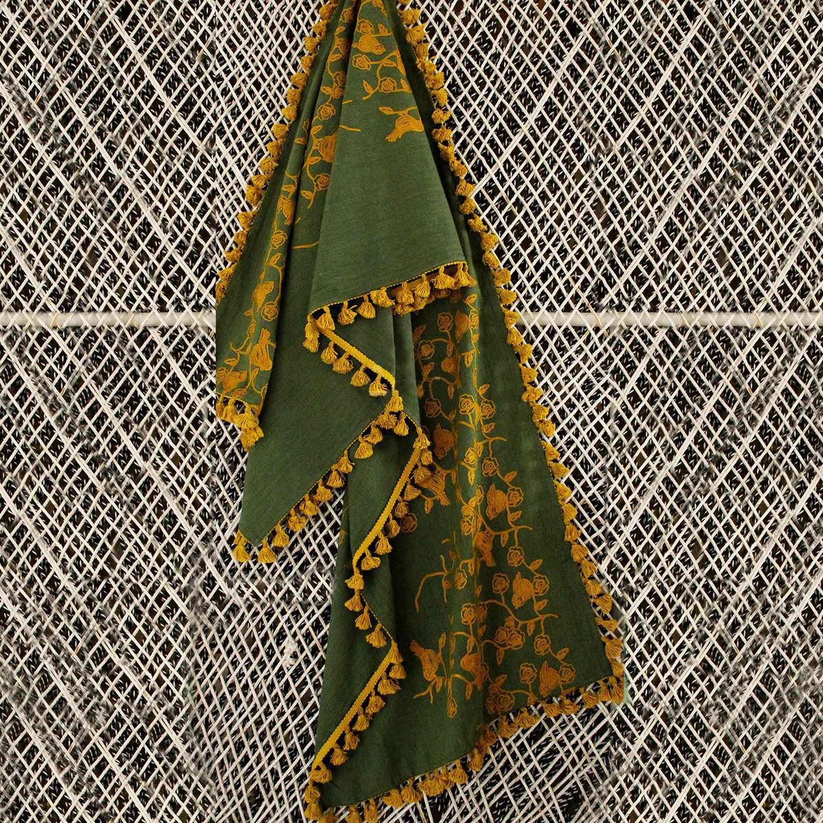 Exceptional Olive Green Colored Embroidered Linen Stole