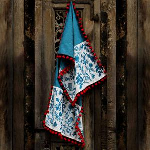 Innovative Blue Colored Embroidered Linen Stole