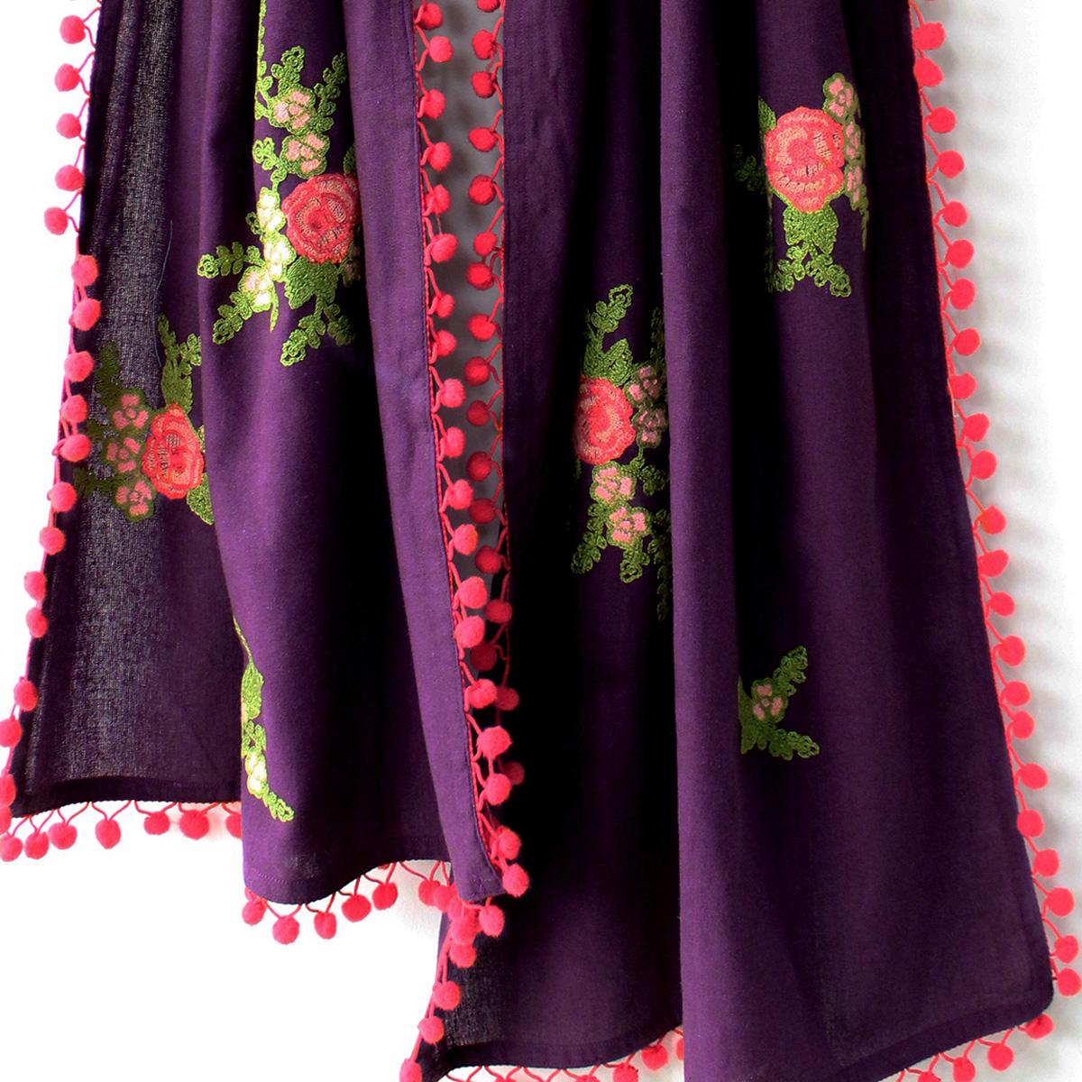 Excellent Dark Purple Colored Embroidered Linen Stole