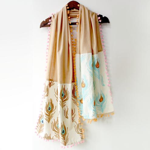 Staring Beige Colored Embroidered Linen Stole