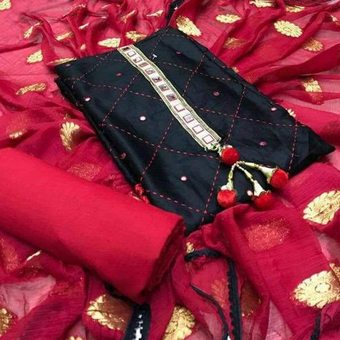 Beautiful Black Colored Partywear Embroidered Cotton Dress Material