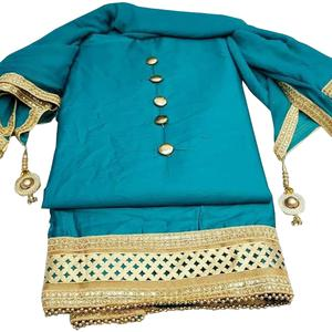 Exceptional Rama Colored Partywear Cotton Dress Material