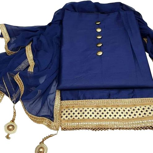 Innovative Navy Blue Colored Partywear Cotton Dress Material