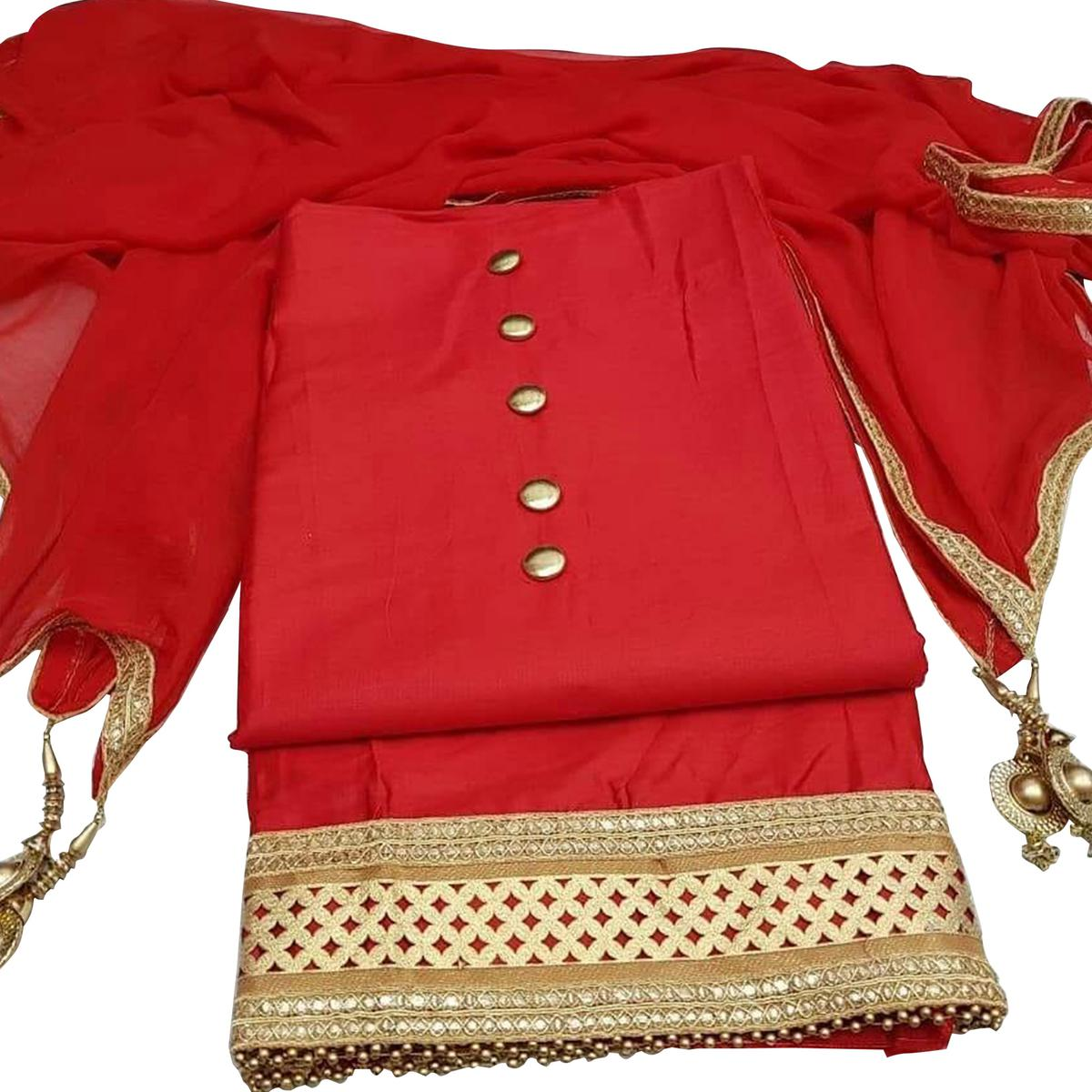 Gleaming Red Colored Partywear Cotton Dress Material