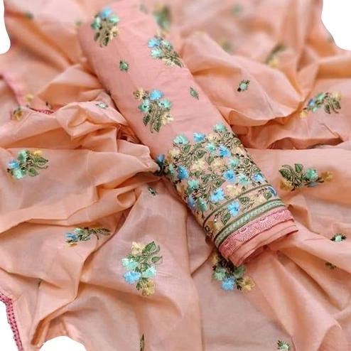 Arresting Peach Colored Partywear Embroidered Cotton Dress Material