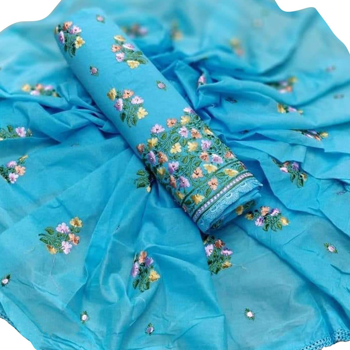 Desiring Sky Blue Colored Partywear Embroidered Cotton Dress Material
