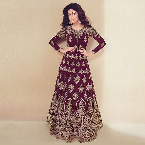 Stylish Dark Purple Colored Partywear Embroidered Georgette Anarkali Suit