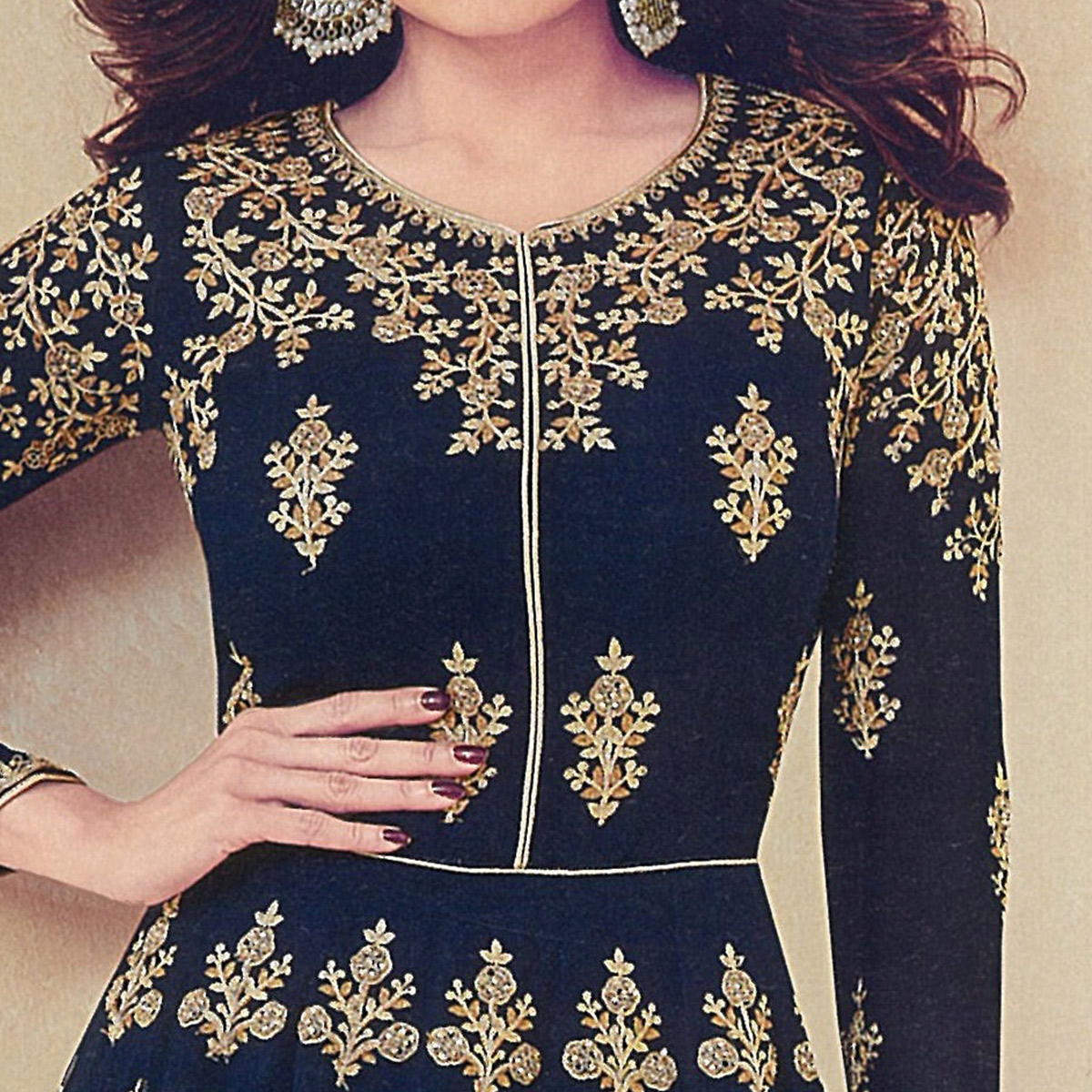 Excellent Navy Blue Colored Partywear Embroidered Georgette Anarkali Suit