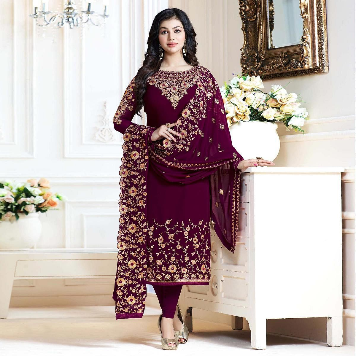 Exceptional Royal Purple Colored Partywear Embroidered Georgette Suit
