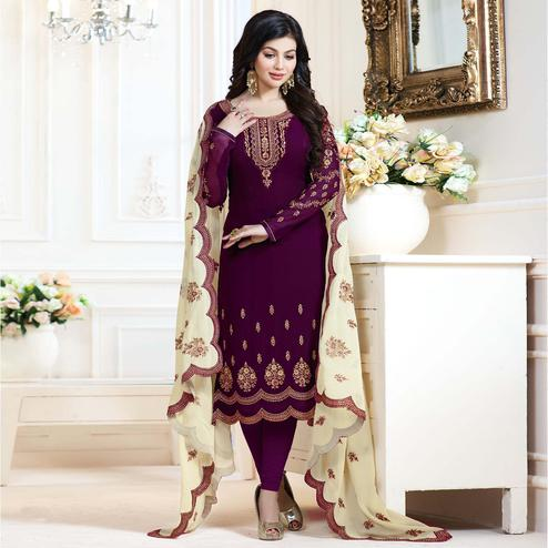 Staring Purple Colored Partywear Embroidered Georgette Suit