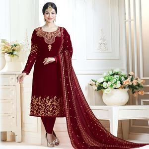 Blooming Red Colored Partywear Embroidered Georgette Suit