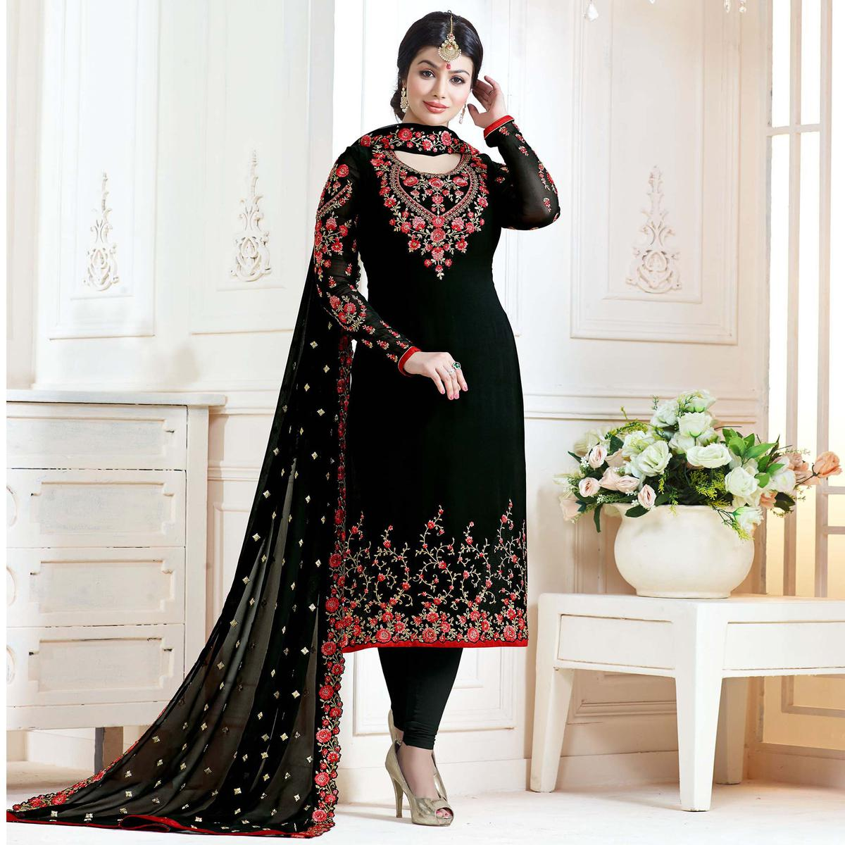 Flamboyant Black Colored Partywear Embroidered Georgette Suit