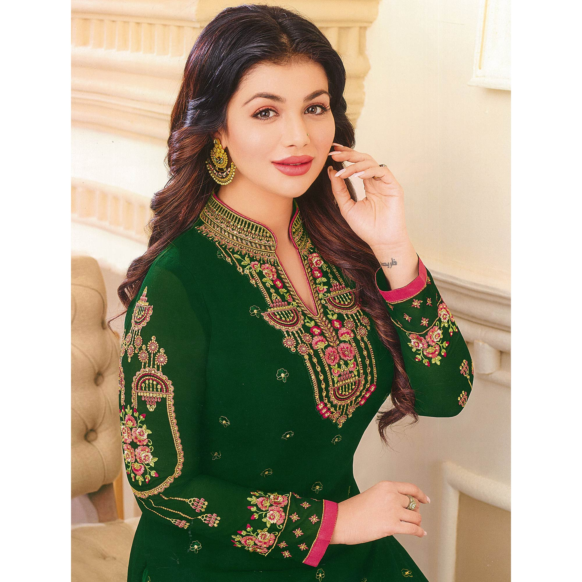 Innovative Dark Green Colored Partywear Embroidered Georgette Suit