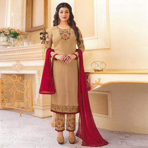 Attractive Beige Colored Partywear Embroidered Georgette Suit