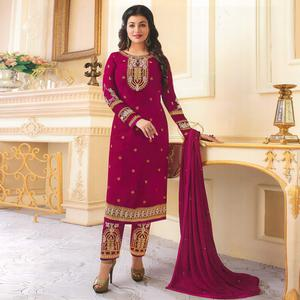 Stunning Dark Pink Colored Partywear Embroidered Georgette Suit