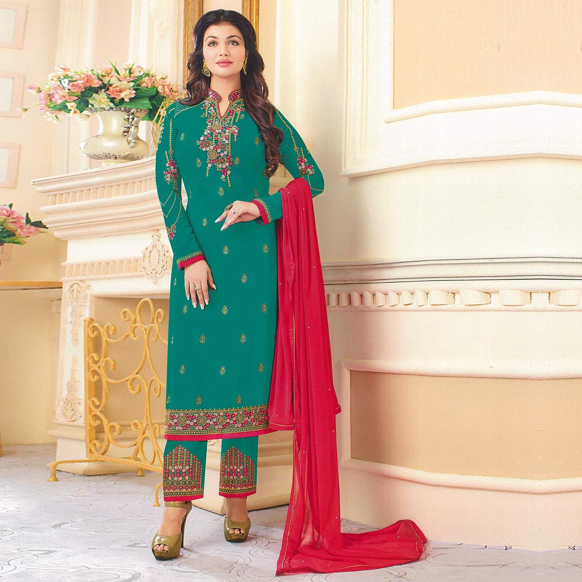 Blossom Rama Green Colored Partywear Embroidered Georgette Suit