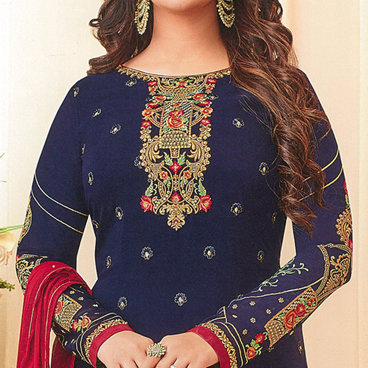 Surpassing Navy Blue Colored Partywear Embroidered Georgette Suit