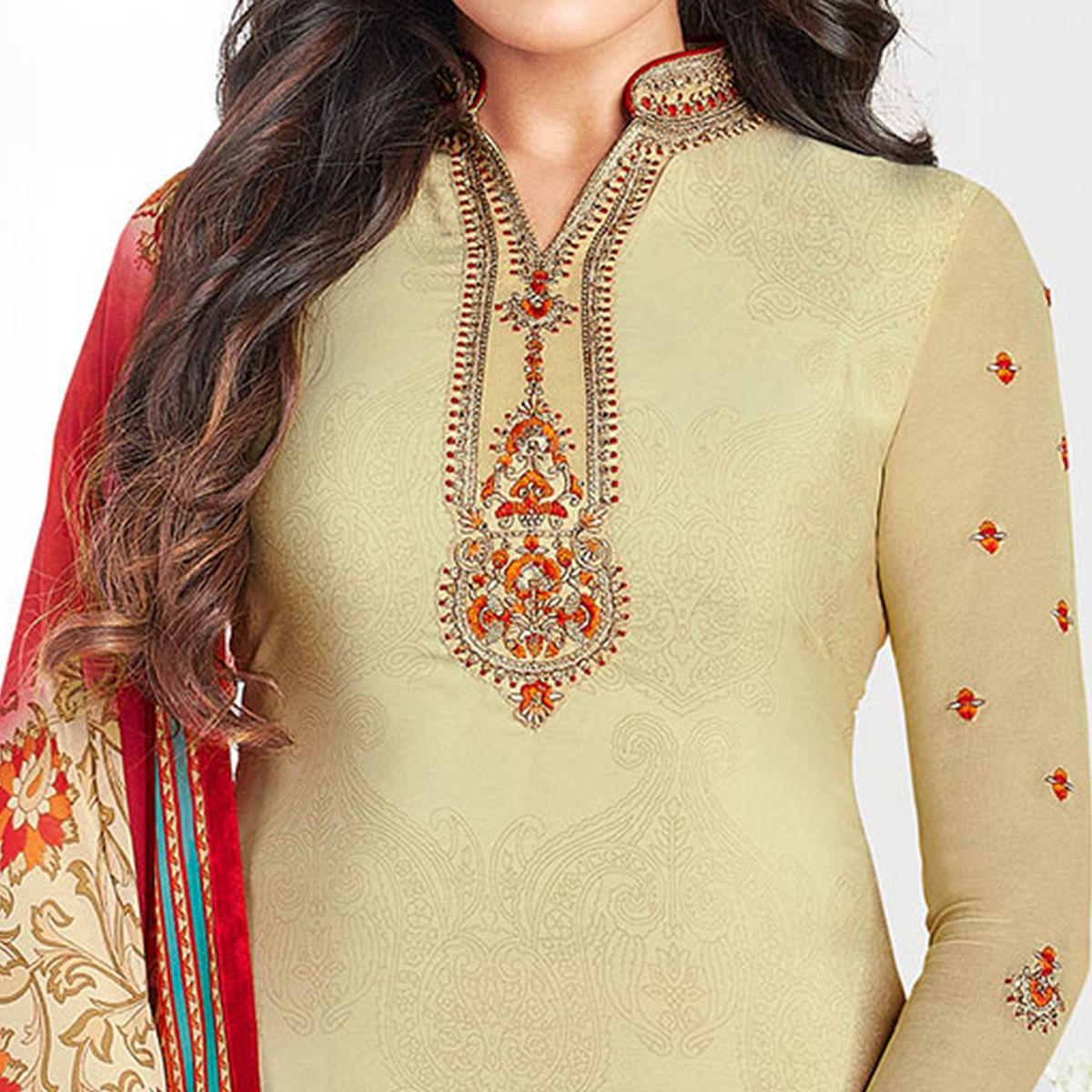 Beautiful Beige Colored Partywear Printed-Embroidered Crepe Suit