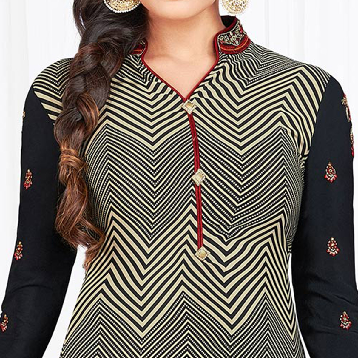 Flaunt Black Colored Partywear Printed-Embroidered Crepe Suit